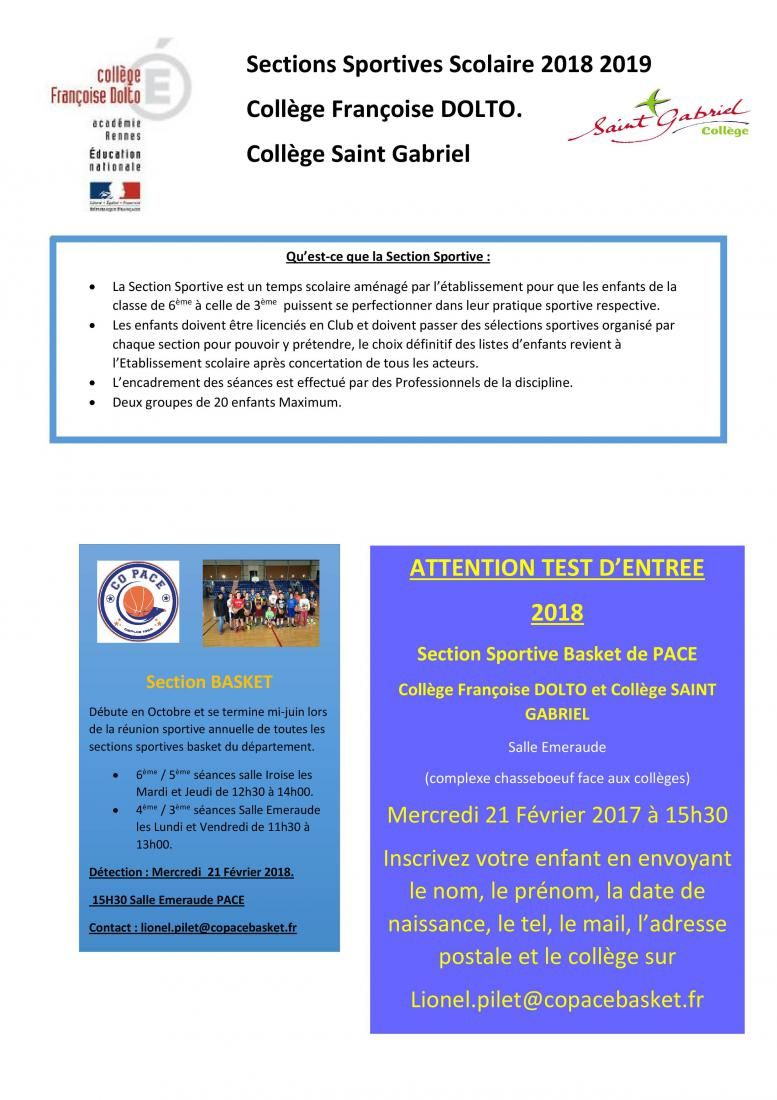 Section Sportive Basket COPACE